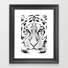 White Tiger Print Framed Art Print