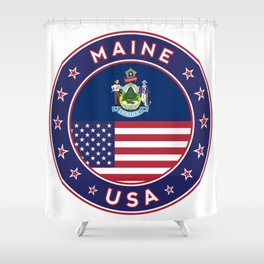 Maine, Maine t-shirt, Maine sticker, circle, Maine flag, white bg Shower Curtain