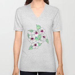 Pink & White Tropical Hibiscus Floral Pattern Unisex V-Neck