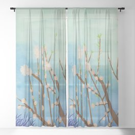 cherry blossom #watercolor #painting Sheer Curtain