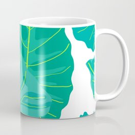 Giant Elephant Ear Leaves in White Coffee Mug