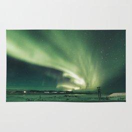 Aurora borealis in iceland Rug