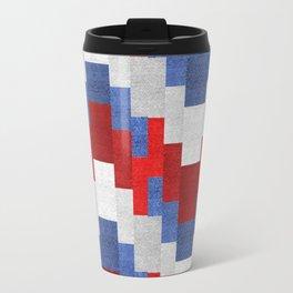Red White Blue Zig Zag Design Travel Mug