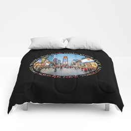 Times Square Sparkle (badge on black) Comforters