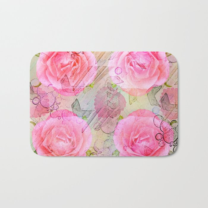 Pink roses on a painterly background Bath Mat