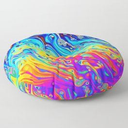Oil on puddle Floor Pillow