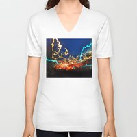 minneapolis V-neck T-shirts featuring Minneapolis at Lightspeed by Katie Mae Dickinson