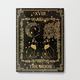 """Tarot """"The moon"""" - gold - cat version Metal Print"""