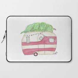 Christmas and Camping, Retro Camper, Holidays Laptop Sleeve