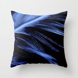 Blue Feather close up Throw Pillow