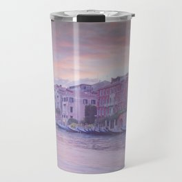Venice in pastel, pink soft fluffy clouds over Venice, Italy Travel Mug
