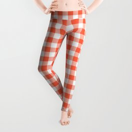 Living Coral Color of the Year Orange and White Buffalo Check Plaid Leggings