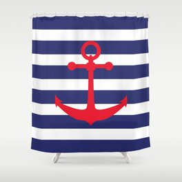 AFE Nautical Red Ship Anchor Shower Curtain
