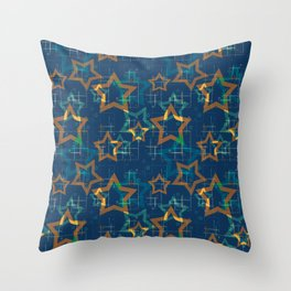 Star . Gold stars on a blue background . Throw Pillow