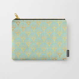 Art Deco Mermaid Scales Pattern on aqua turquoise with Gold foil effect Carry-All Pouch
