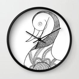 isolated duck line art illustration Wall Clock