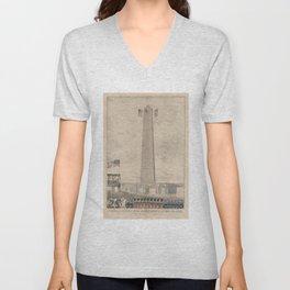 Vintage Bunker Hill Monument Inauguration Illustration Unisex V-Neck