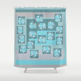 Denim tree fiber art in aqua gray blue white turquoise teal aquamarine Shower Curtain