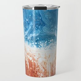 Fire and Ice Orange and Blue Abstract Fluid Art Travel Mug