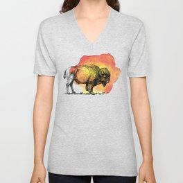 American Bison on Sunset Orange Watercolor Unisex V-Neck