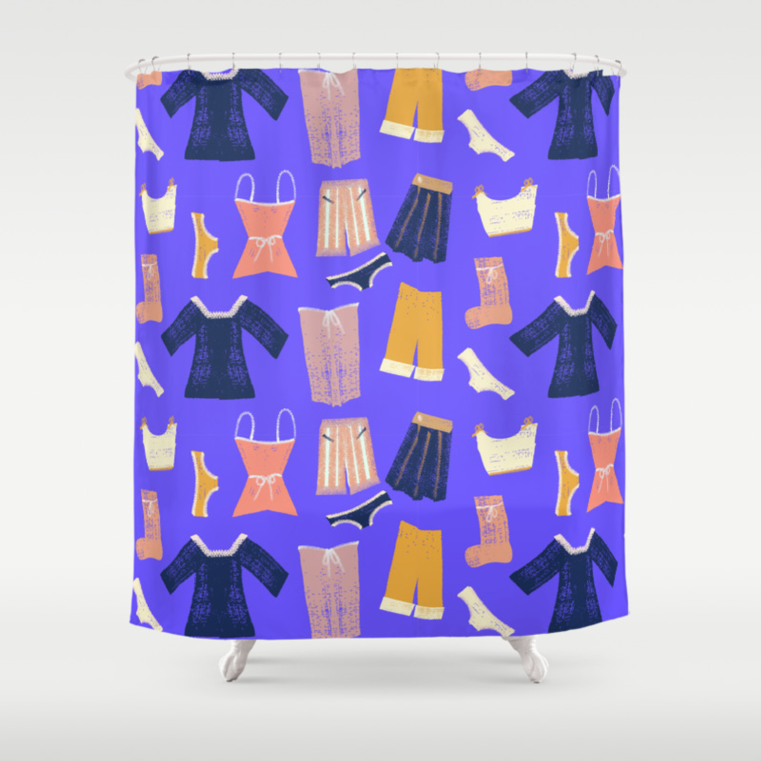 Colorful Hanging Clothes Seamless Pattern Creative And Modern Graphic Design Vibrant Colors Shower Curtain
