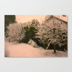 blurred winter nights. Canvas Print