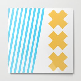 Bold Minimalism 2 (Zebra Blue and Yellow Cross) Metal Print