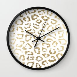 Modern white chic faux gold foil leopard print Wall Clock