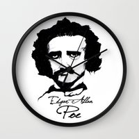 edgar allan poe Wall Clocks featuring Edgar Allan Poe  by SINPE