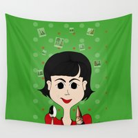 amelie Wall Tapestries featuring Amelie Poulain by Camila Oliveira