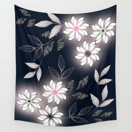 White flowers on a dark background. Wall Tapestry