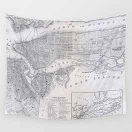 Vintage Map of New York City (1855) Wall Tapestry