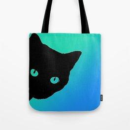 Black Cat Blue Green Tshirt Tote Bag