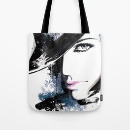 Fashion Beauty, Fashion Painting, Fashion IIlustration, Vogue Portrait, Black and White, #15 Tote Bag