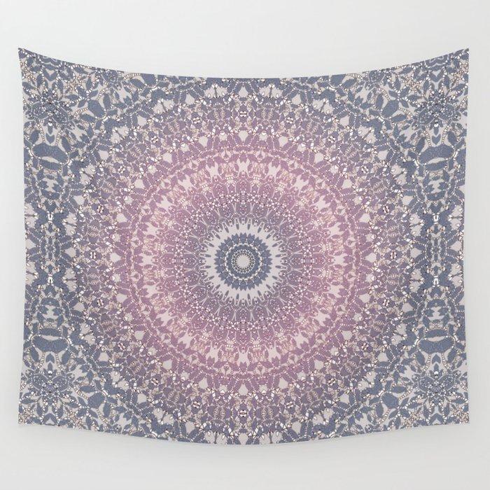 gray pink mandala Wall Tapestry