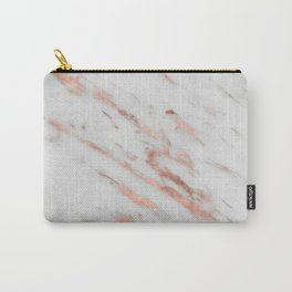 Marble - Rose Gold Marble with White Gold Foil Pattern Carry-All Pouch