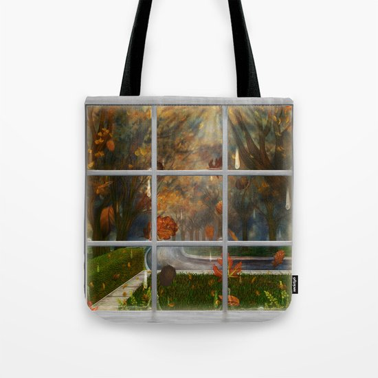 One Rainy Day In The Fall - Painting Tote Bag
