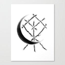 Crescent Moon Rune Binding at Midnight Canvas Print