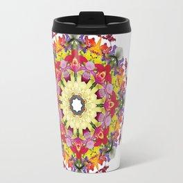 Abundantly colorful orchid mandala 1 Travel Mug