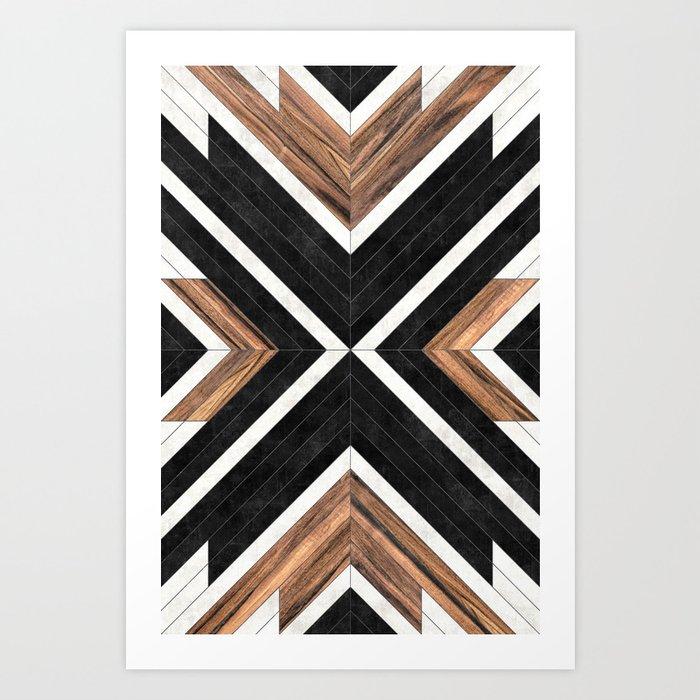 Urban Tribal Pattern No.1 - Concrete and Wood Kunstdrucke