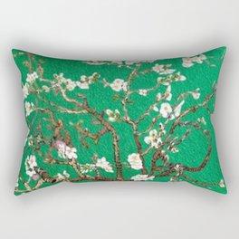 Vincent van Gogh Blossoming Almond Tree (Almond Blossoms) Emerald Sky Rectangular Pillow