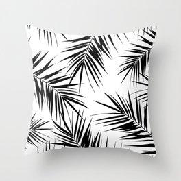 Palm Leaves Cali Finesse #3 #BlackWhite #tropical #decor #art #society6 Throw Pillow