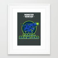 monster hunter Framed Art Prints featuring Monster Hunter All Stars - The Tanzia Brawlers by Bleached ink