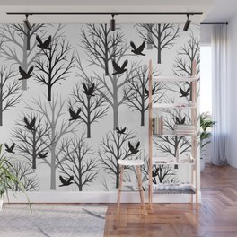 Winter Tree with Birds - white Background Wall Mural
