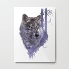 Wolf Forest Guardian Metal Print