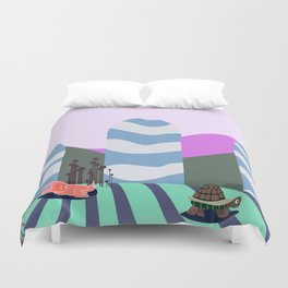 hare and tortoise fable Duvet Cover