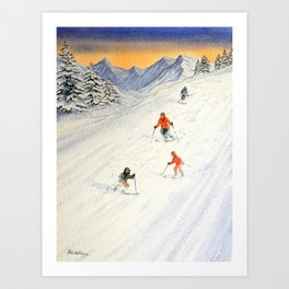 Skiing Family On The Slopes Art Print