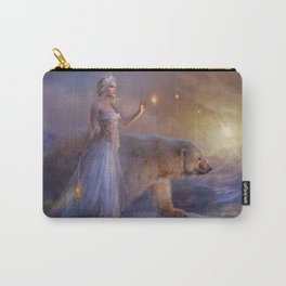 Aurora Northern Lights - Woman with Icebear  Carry-All Pouch