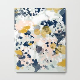 Noel - navy mint gold painted abstract brushstrokes minimal modern canvas art painting Metal Print