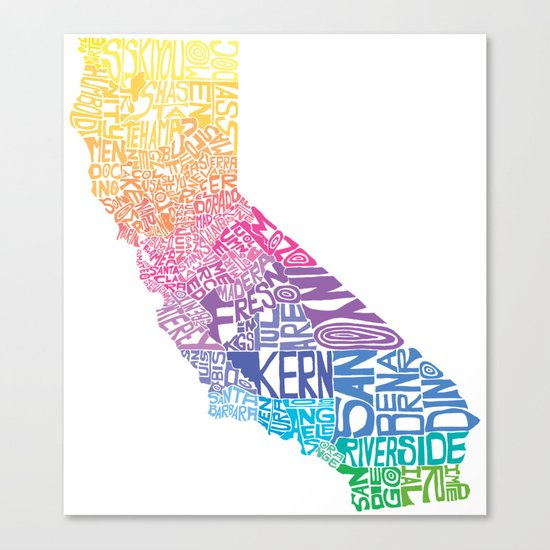 Typographic California - Springtime Canvas Print